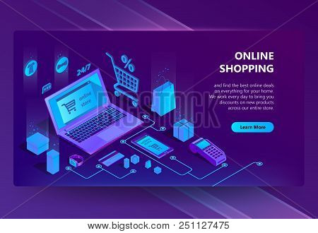 Vector 3d Isometric Template Of E-commerce Site, Online Store Page With Buton. Shopping Service, Pay