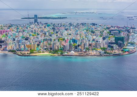 Aerial Top View Male Capital, Maldivian Capital View From Above, Male, Maldives.