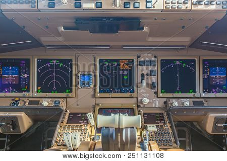 Passenger Aircraft Interior, Engine Power Control And Other Aircraft Control Unit In The Cockpit Of