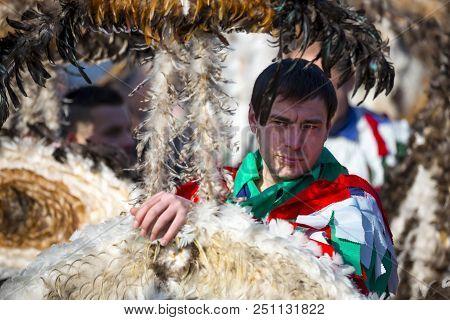 Pernik, Bulgaria - 28 January 2018: Participants Take Part In The International Festival Of Masquera