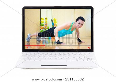 Sport Video Blog Concept - Girl Showing Her Training In Gym Online