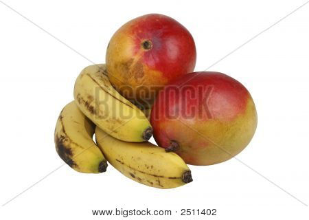 Mangoes And Bananas (With Clipping Path)