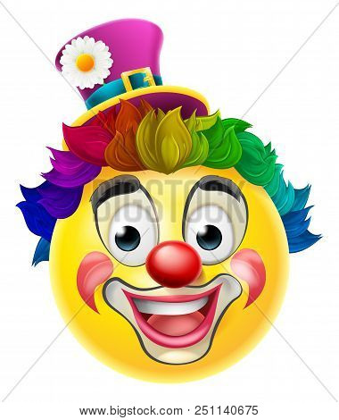 A Clown Cartoon Emoji Emoticon Smiley Face Character With A Red Nose, Rainbow Wig, And Face Paint Ma