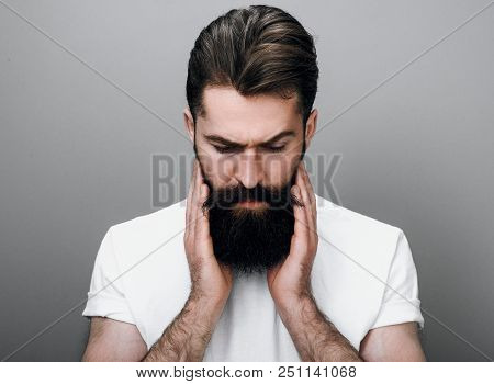 Close up portrait of handsome masculine young bearded man is keeping hand on beard and looking down, on a gray studio background. Portrait of young European hipster with trendy beard. poster