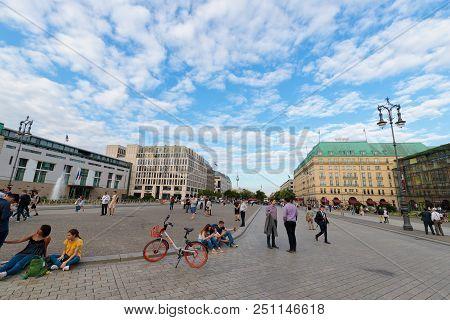 Tourists In Pariser Platz, Berlin, Germany, Europe, June 2018