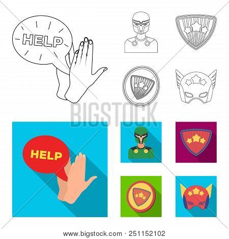 Man, Mask, Cloak, And Other  Icon In Outline, Flat Style.costume, Superman, Superforce Icons In Set
