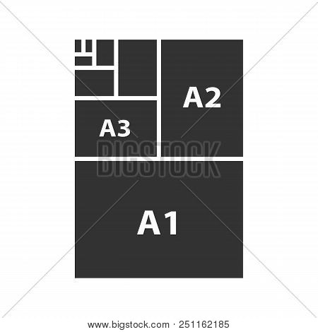 Paper Sizes Glyph Icon. Paper Sheet Formats. A3, A1, A2. Silhouette Symbol. Negative Space. Vector I