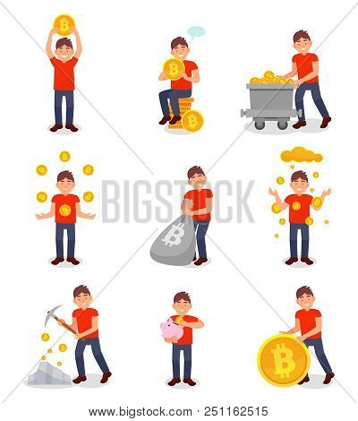 Young Man Mining Bitcoin Digital Money Set, Cryptocurrency Mining Technology Concept Vector Illustra