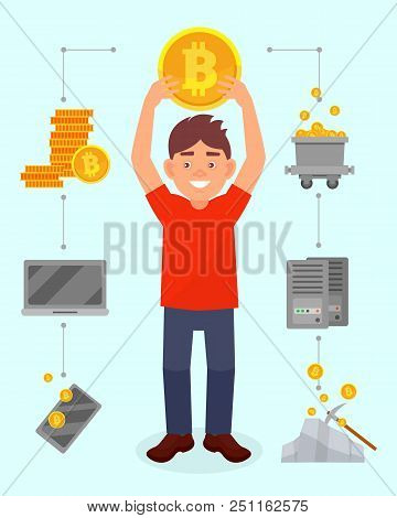 Smiling Young Man Holding Big Bitcoin Coin Over His Head, Cryptocurrency Mining Technology, Cryptocu