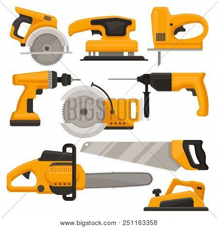 Collection Of Construction Tools. Different Saws, Jack Plane, Hammer Drill And Sanding Machine, Buil
