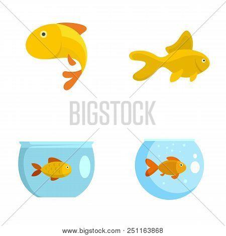 Goldfish And Fishbowl Icons Set. Flat Illustration Of 4 Goldfish And Fishbowl Vector Icons Isolated