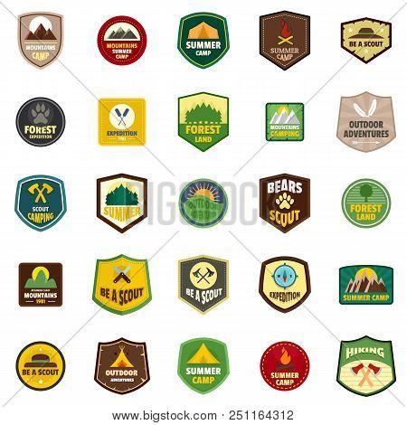 Scout Badge Emblem Stamp Icons Set. Flat Illustration Of 25 Scout Badge Emblem Stamp Vector Icons Is