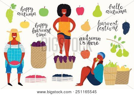 Big Autumn Harvest Set With Beautiful Funny Women Picking Cranberries, Apples, Pears, Stomping Grape