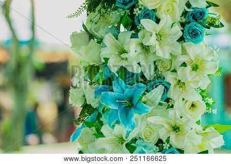 Beautiful Flowers In Vase On Wedding Ceremony, Copy Space. Wedding Flowers. Wedding Ceremony Decorat