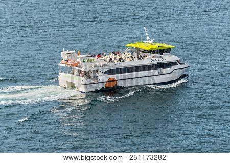 Vigo, Spain - May 20, 2017: Passenger Ship Pirata De Cies Floats Along The Bay In The Port Of Vigo,