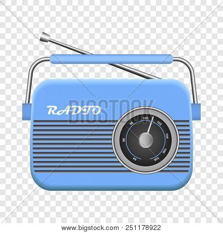Blue Old Radio Mockup. Realistic Illustration Of Blue Old Radio Vector Mockup For On Transparent Bac