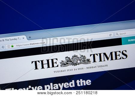 Ryazan, Russia - July 24, 2018: Homepage Of Thetimes Website On The Display Of Pc. Url - Thetimes.co