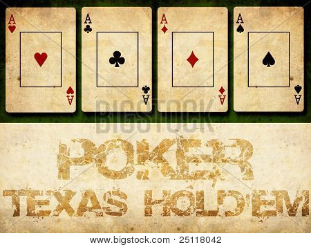 Poker grunge background, 4 aces