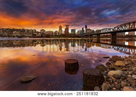 A Beautiful Sunset Over Downtown Portland Oregon Waterfront Along Willamette River From Eastbank Esp
