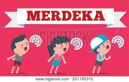 Stock Vector Of Illustration On Hari Merdeka ,independence Day Of Indonesia. Flat Illustration Style
