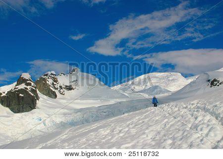 Antarctic Scenery, Snow And Blue Sky