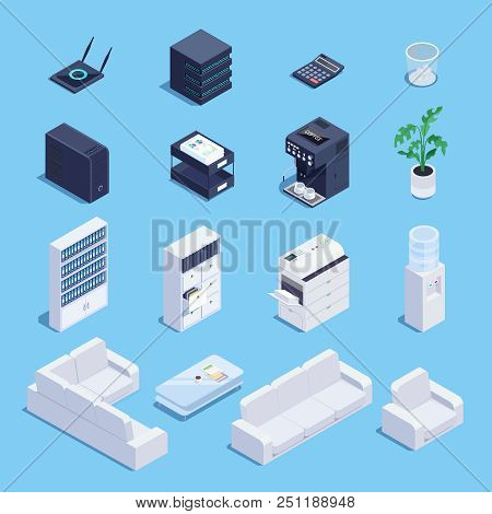 Isometric Set Of Office Equipment And Furniture Icons. 3d Office Sofa, File Storage, Router, Data Pr