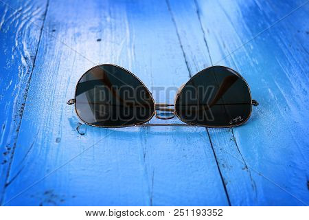 Batroun, Lebanon - July 22, 2018: The Ray-ban Aviator Sunglasses With Polarized Lenses. Ray-ban Is F