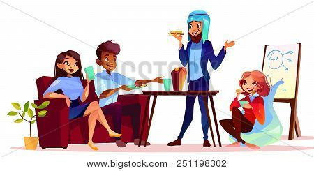 Coffee Break At Presentation Vector Illustration. Arabian Man Treating Guests With Food And Drink At