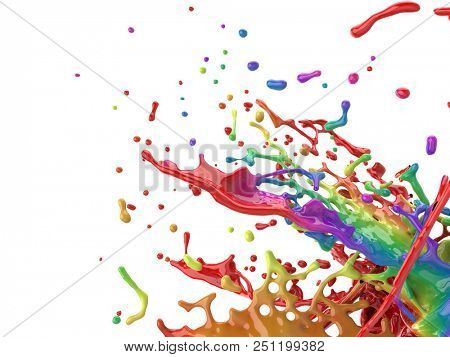 Colorful paint splash creative background. Color paint mix splattered. 3D rendering.