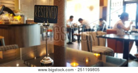 Reserved Table. The Reserved Logo. Booking Badge. Wooden Reservation Sign. Reserved Table In The Res