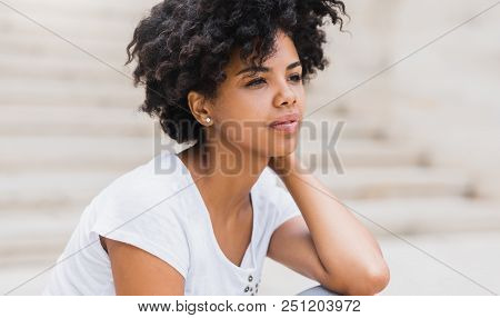 Cropped Shot Of Pensive Beautiful African American Young Woman Have Sad Face, Against White Wall Wit
