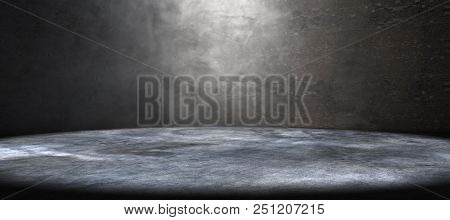 Empty Room And Concrete Floor Background.smoke Or Fog And Spotlight In Dark Space.3d Illustration