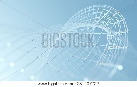 Abstract Mesh And Net.networking And Internet Concept.3d Illustration.science And Technology Backgro
