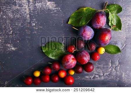 Plums Of Different Varieties In The Form Of A Bunch Of Grapes