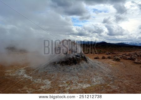The sulfur hot geysers at Hverir in Iceland poster