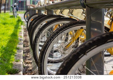 Row Of Rental Bicycles Parked In The City