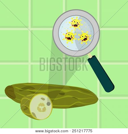 Contaminated Cucumber With Microbes Cartoon. Microorganisms, Virus And Bacteria In The Rotten And Sp