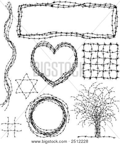Set of editable vector design elements made from barbed wire poster