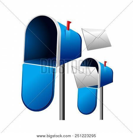 Open Mailbox With Letter On Post - Blue Letterbox With Envelope