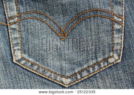 Pocket Detail Blue Jeans