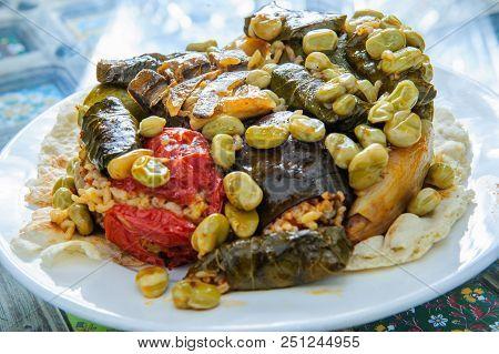 Stuffed Grape Leaves - Arabic Traditional Food.