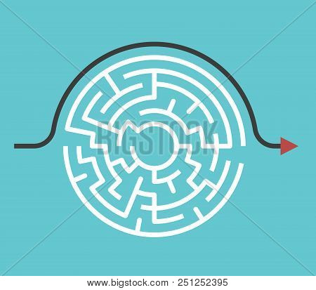 Circular Maze With Entrance And Exit And Bypass Route Arrow Going Around It. Problem And Solution Co