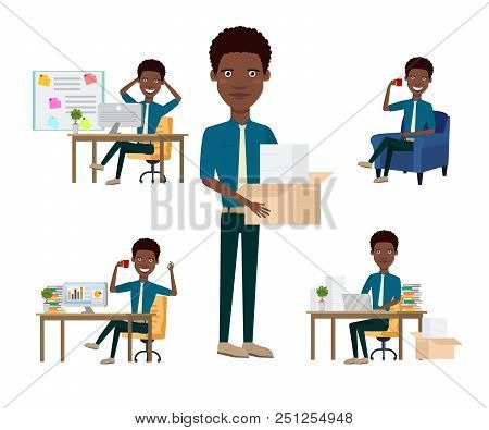 African Office Employee Character Set With Different Poses, Emotions, Gestures. Marketers Desk, Fina