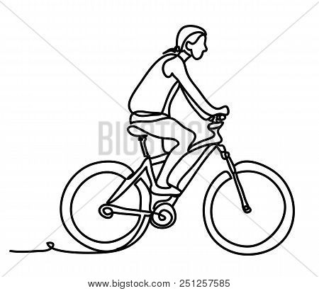 Man Riding A Bicycle Outside. Concentrated Young Guy Using His Bike In The Courtyard. Continuous Lin