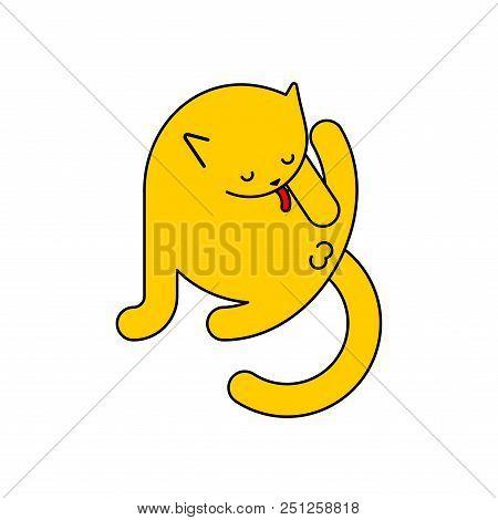 Cat Licks Itself Isolated. Pet Vector Illustration