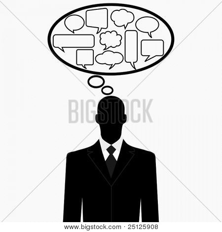 Thinking man silhouette with thought bubbles