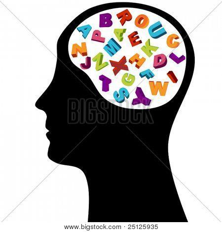 Male head silhouette thinking