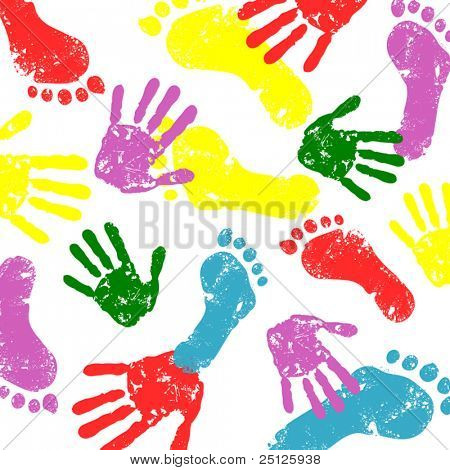 abstract vector hand and foot prints background