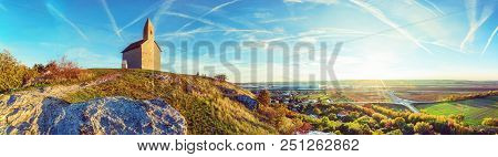 Romanesque Church Saint Michael, Drazovce Village And Industrial Park Nitra In Sunset, Slovak Republ