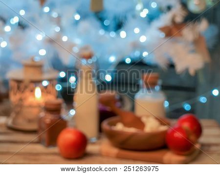 New Year's, Christmas Culinary Composition From Food Of Generic Background, Intentionally Blurred Po